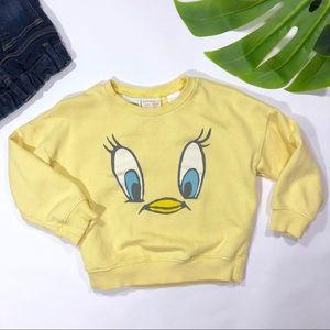 Looney Tunes Girls Tweety Pie Distressed Sweatshirt